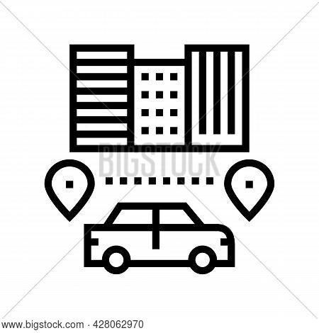 Routes Driving School Line Icon Vector. Routes Driving School Sign. Isolated Contour Symbol Black Il