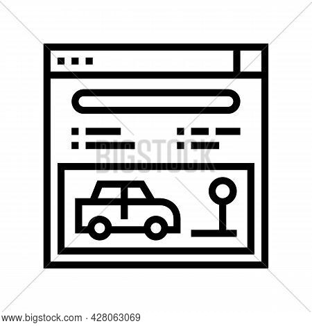 Online Driving School Lesson Line Icon Vector. Online Driving School Lesson Sign. Isolated Contour S