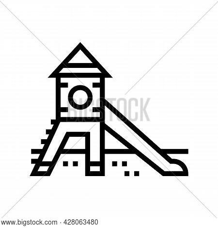 Slide Kindergarten Line Icon Vector. Slide Kindergarten Sign. Isolated Contour Symbol Black Illustra