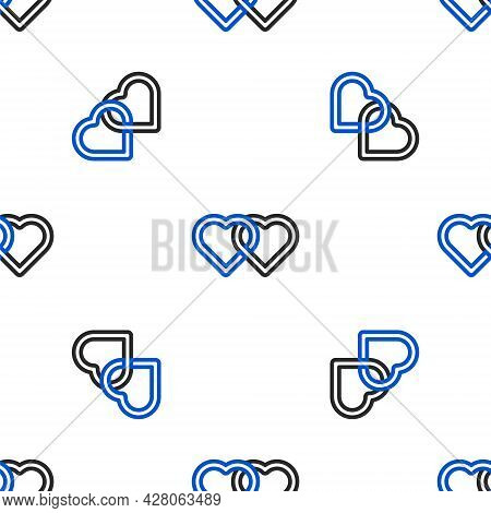 Line Two Linked Hearts Icon Isolated Seamless Pattern On White Background. Romantic Symbol Linked, J