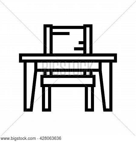 Studying Kindergarten Line Icon Vector. Studying Kindergarten Sign. Isolated Contour Symbol Black Il