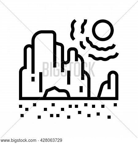 Drought Land Line Icon Vector. Drought Land Sign. Isolated Contour Symbol Black Illustration