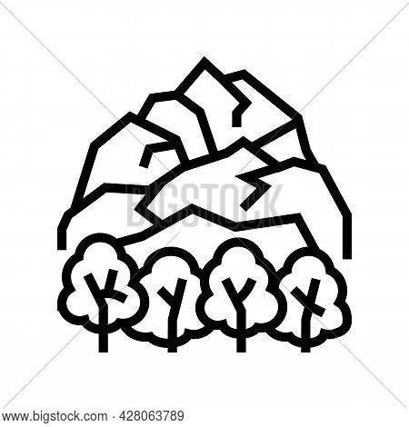 Tundra Landscape Line Icon Vector. Tundra Landscape Sign. Isolated Contour Symbol Black Illustration