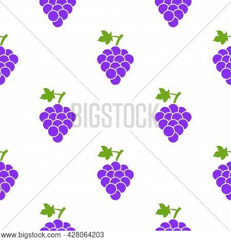 Grape Seamless Pattern Flat Graphic Background. Grape Simple Vector Pattern