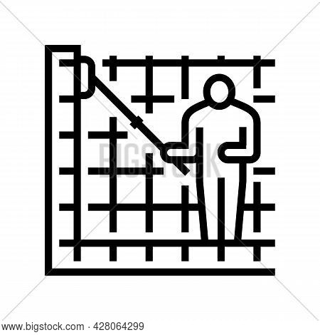 Cleaning Pool Walls Line Icon Vector. Cleaning Pool Walls Sign. Isolated Contour Symbol Black Illust