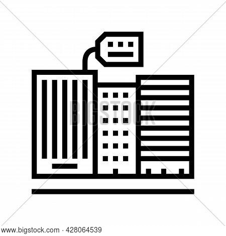 Rent In High Rise Building Line Icon Vector. Rent In High Rise Building Sign. Isolated Contour Symbo