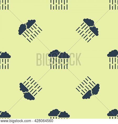 Blue Cloud With Rain Icon Isolated Seamless Pattern On Yellow Background. Rain Cloud Precipitation W