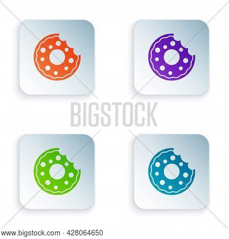 Color Donut With Sweet Glaze Icon Isolated On White Background. Set Colorful Icons In Square Buttons