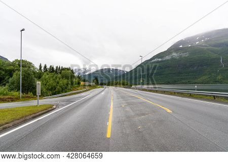 A View Of The Northern Lights Highway In The Lyngenalpen Of Northern Norway