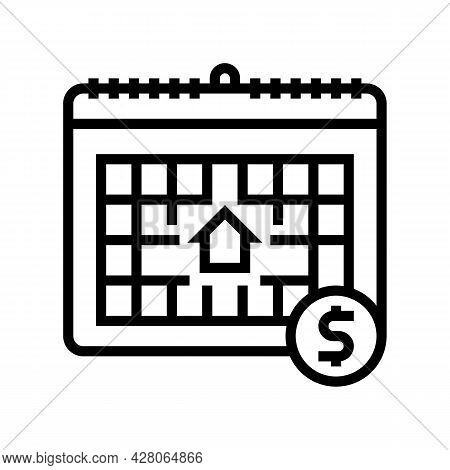 Monthly Fee Line Icon Vector. Monthly Fee Sign. Isolated Contour Symbol Black Illustration