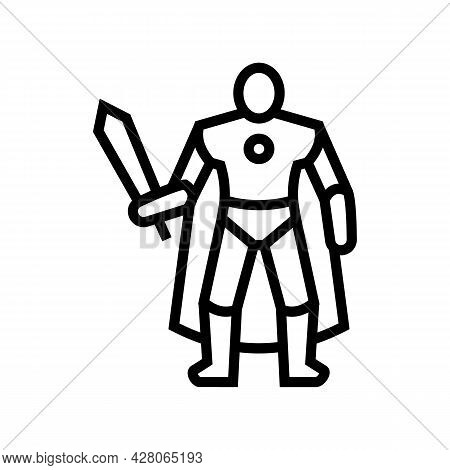 Action Figures Toys Line Icon Vector. Action Figures Toys Sign. Isolated Contour Symbol Black Illust
