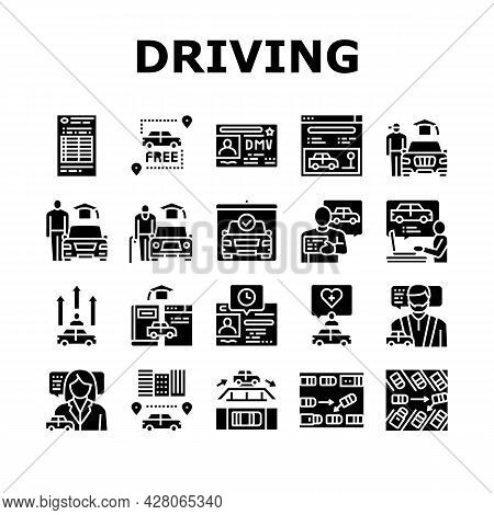 Driving School Lesson Collection Icons Set Vector. Driving School Educational Material And Test, Dia