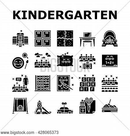 Kindergarten Activity Collection Icons Set Vector. Kindergarten Sleeping And Walking Time, Mathemati