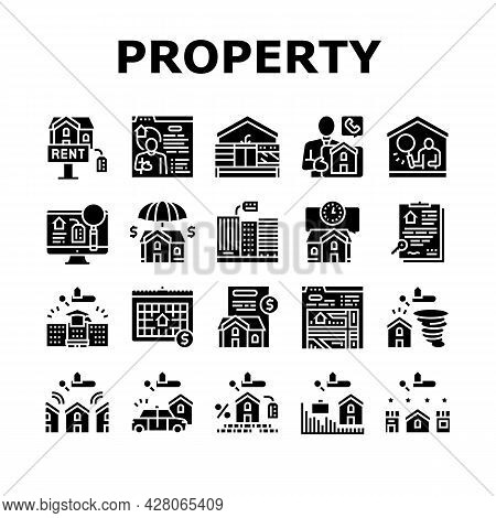 Property Rental Agency Collection Icons Set Vector. Signing Contract And Payment Of Taxes, Insurance