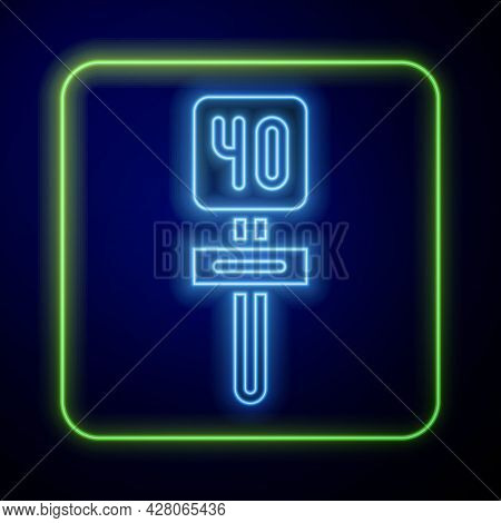 Glowing Neon Road Traffic Sign. Signpost Icon Isolated On Blue Background. Pointer Symbol. Isolated