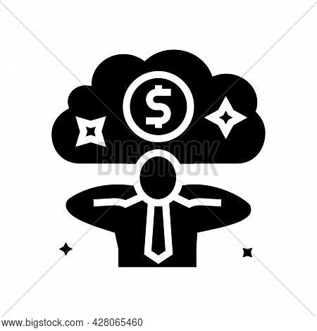 Businessman Relaxing Wealth Glyph Icon Vector. Businessman Relaxing Wealth Sign. Isolated Contour Sy