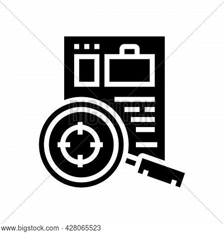 Researching Cv Or Business Case Glyph Icon Vector. Researching Cv Or Business Case Sign. Isolated Co