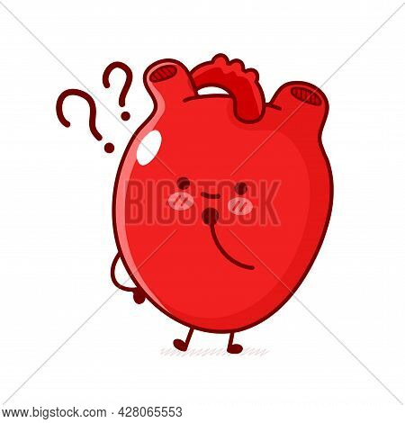 Cute Funny Human Heart Organ With Question Mark. Vector Flat Line Doodle Cartoon Kawaii Character Il