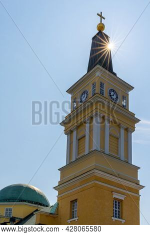 View Of The Oulu Cathedral In The City Center With A Sun Star
