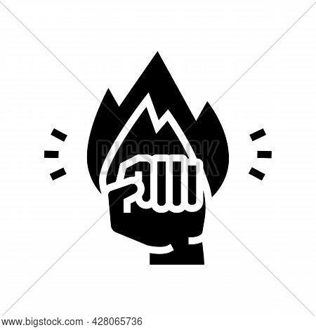 Strong Power Businessman Glyph Icon Vector. Strong Power Businessman Sign. Isolated Contour Symbol B