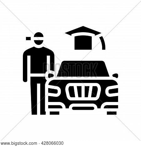 Driving Lessons For Teens Glyph Icon Vector. Driving Lessons For Teens Sign. Isolated Contour Symbol