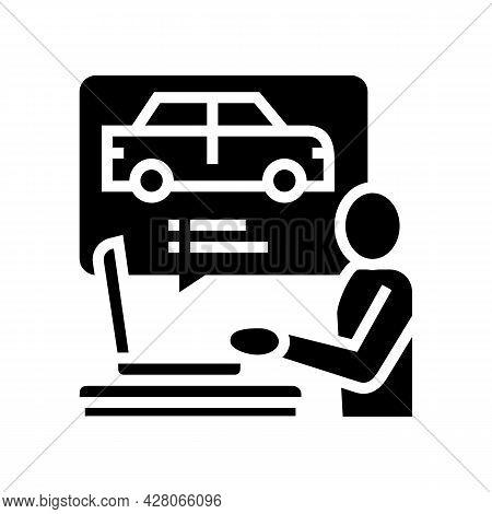 Driving Test Preparation Glyph Icon Vector. Driving Test Preparation Sign. Isolated Contour Symbol B
