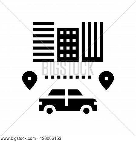 Routes Driving School Glyph Icon Vector. Routes Driving School Sign. Isolated Contour Symbol Black I