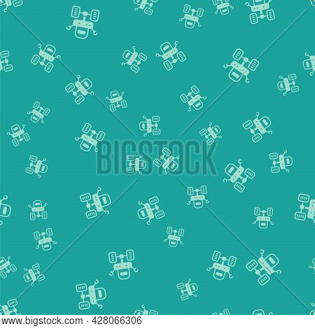 Green Mars Rover Icon Isolated Seamless Pattern On Green Background. Space Rover. Moonwalker Sign. A