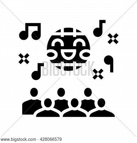 Disco Kids Party Glyph Icon Vector. Disco Kids Party Sign. Isolated Contour Symbol Black Illustratio