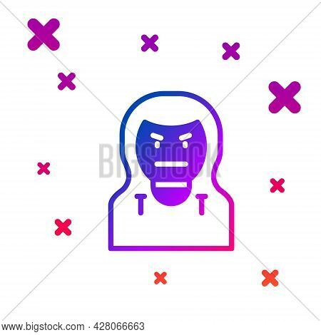 Color Thief Mask Icon Isolated On White Background. Bandit Mask, Criminal Man. Gradient Random Dynam
