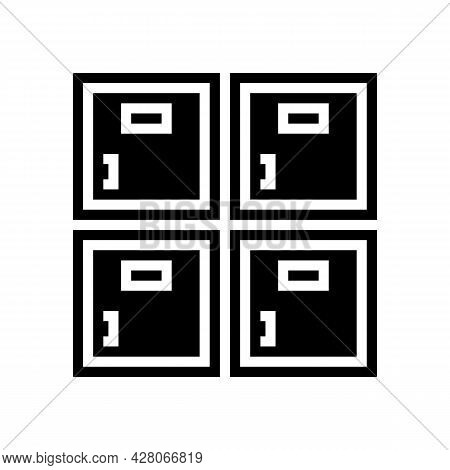 Lockers Kindergarten Glyph Icon Vector. Lockers Kindergarten Sign. Isolated Contour Symbol Black Ill
