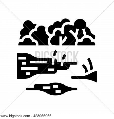 Rainforest Land Glyph Icon Vector. Rainforest Land Sign. Isolated Contour Symbol Black Illustration