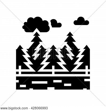 Coniferous Forests Glyph Icon Vector. Coniferous Forests Sign. Isolated Contour Symbol Black Illustr
