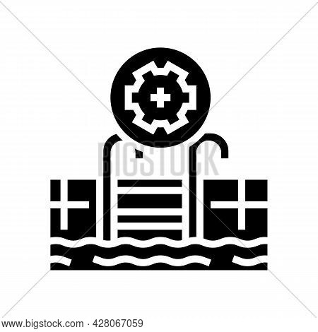 Commercial Pool Services Glyph Icon Vector. Commercial Pool Services Sign. Isolated Contour Symbol B