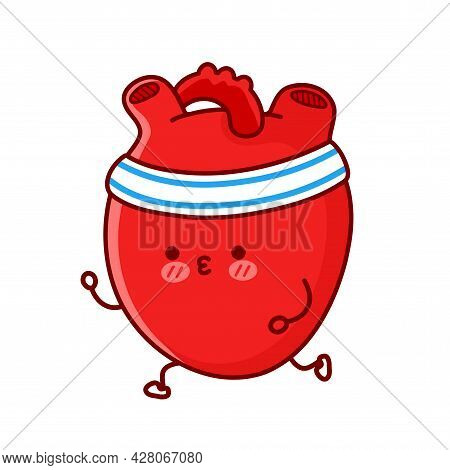 Cute Funny Heart Organ Jogging Run. Vector Flat Line Cartoon Kawaii Character Illustration Icon. Iso