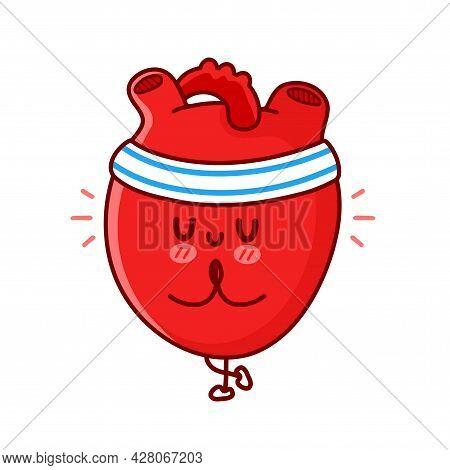 Cute Funny Heart Organ Meditate In Yoga Pose. Vector Flat Line Cartoon Kawaii Character Illustration