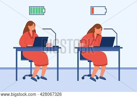 Contrast Of Exhausted And Mentally Healthy Woman. Flat Vector Illustration. Frustrated, Tired And Ac