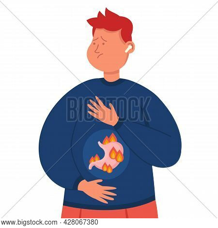 Cartoon Man Suffering From Stomach Problems. Flat Vector Illustration. Person Having Stomachache, Ga
