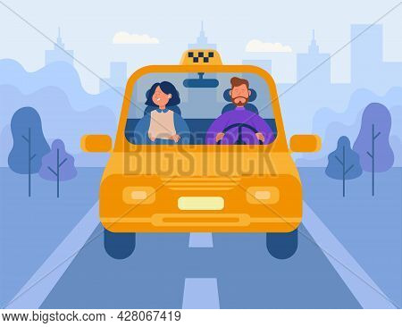 Woman Using Taxi Flat Vector Illustration. Male Driver And Female Passenger Driving In Yellow Car Ca
