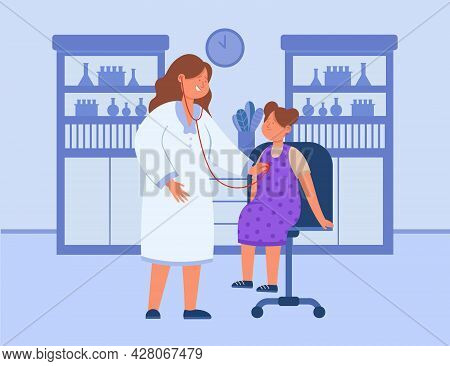 Cartoon Doctor Examining Sick Girl With Stethoscope. Flat Vector Illustration. Child Receiving Skill