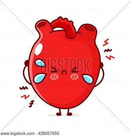 Cute Sad Cry Human Heart Organ. Vector Flat Line Doodle Cartoon Kawaii Character Illustration. Isola