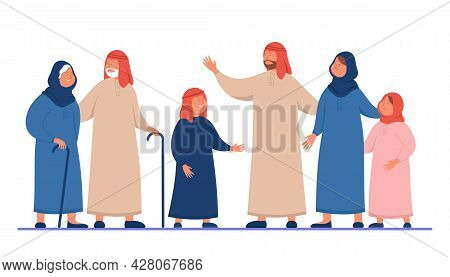 Cartoon Arabic Family In Traditional Clothes. Flat Vector Illustration. Young And Old Muslim Women A