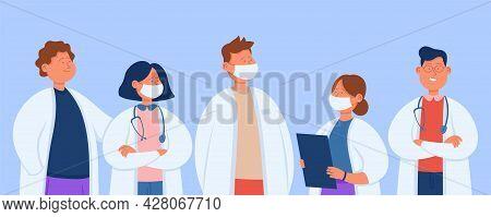 Cartoon Professional Hospital Team Of Doctors. Flat Vector Illustration. Clinic Staff In Masks, Grou