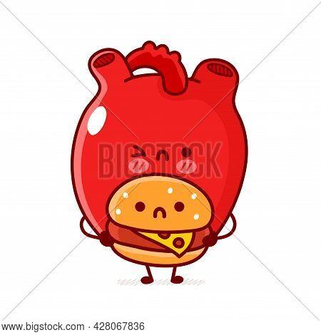 Cute Sad Human Heart Organ Hold Burger. Vector Flat Line Doodle Cartoon Kawaii Character Illustratio