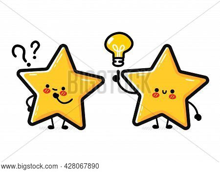 Cute Funny Happy Star Sign Character With Question And Idea Light Bulb. Vector Hand Drawn Cartoon Ka