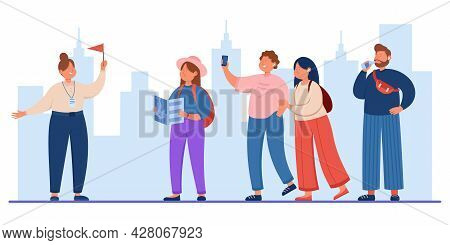 Group Of Tourists Travelling With Guide Holding Flag. Flat Vector Illustration. Happy Men And Women