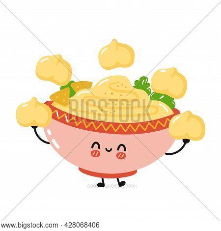 Cute Funny Traditional Hummus Bowl Character Juggle Chickpea. Vector Flat Cartoon Kawaii Character I