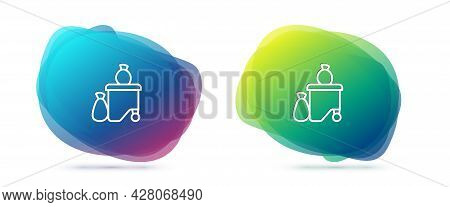 Set Line Dumpsters Being Full With Garbage Icon Isolated On White Background. Garbage Is Pile Lots D