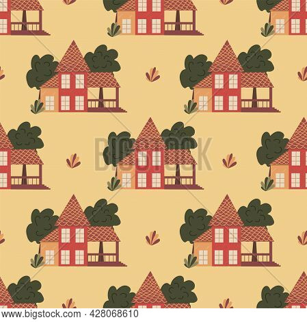 Seamless Pattern With Large House With A Covered Terrace And Tall Trees. Colorful Vector Illustratio