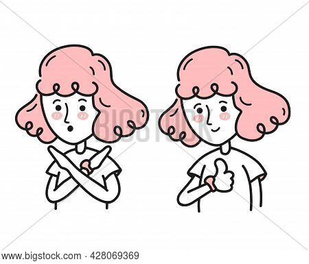 Young Woman Crossing Arms Saying No Gesture Show Thumbs Up. Vector Doodle Cartoon Character Illustra